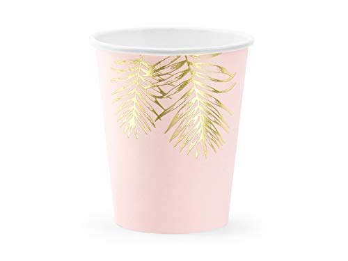 WYw - Juego de 6 tazas de papel de alta calidad, color rosa pálido con hojas doradas, para baby shower, cumpleaños, despedida de soltera, 260 ml (9 oz)