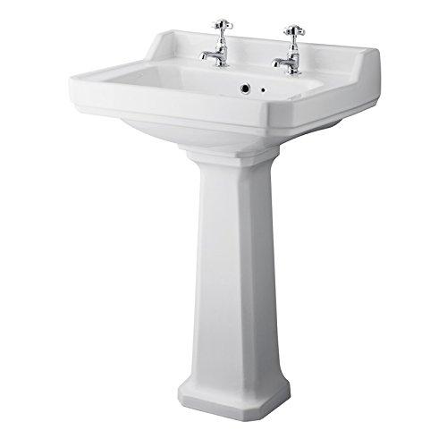 Lavabo con Pedestal en Cerámica en Estilo Retro 595x470x905mm