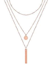 a little something® Halskette Venice | Damen Layer Kette mit 18 Karat Vergoldung (Gold & Roségold) | Inklusive nachhaltiger Geschenkverpackung mit FSC®-Zertifikat