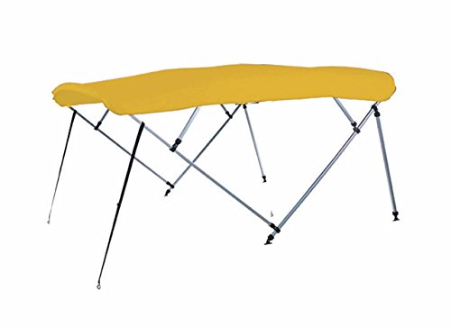 Buy Bargain 7 oz Yellow 4 Bow Square Tube Boat Bimini TOP with Running Light Cutout Sunshade for CRE...
