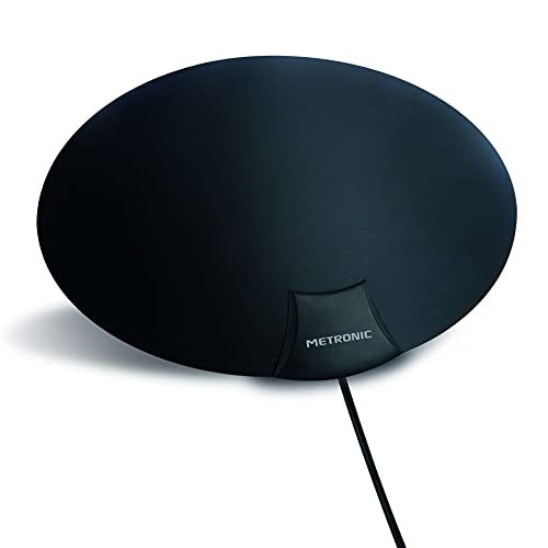 Metronic 416962 - Antena Interior TV Potente para Canales TDT gratuitos, Ultrafina, Gran Alcance, 1080P 4K, UHD, HDTV, TV Digital, Compatible 4G/5G, DVBT/DVB-T2, Cable coaxial 3 Metros, Blanco/Negro
