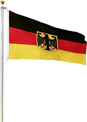 normani Aluminium Fahnenmast inkl. Deutschland Fahne + Bodenhülse + Zugseil - in verschiedenen Höhen wählbar Farbe Deutschland mit Adler Größe 6.50 Meter
