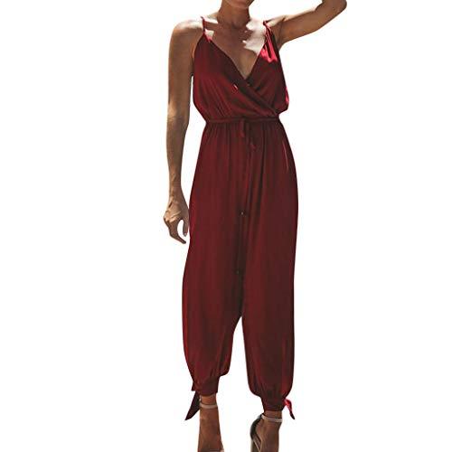 Manadlian Combinaison Femme Ete Chic Longue Femmes Camisole à Col en V Mince Combishort Salopettes Loose Strap Strappy Jumpsuit