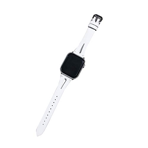 Xnhgfa Correa Compatible con Apple Watch 44 mm 42 mm 40 mm 38mm, Vintage Pulsera de Cuero Genuino Compatible iWatch Series 6 5 4 3 2 1 Mujeres Hombres,Blanco,38MM/40MM