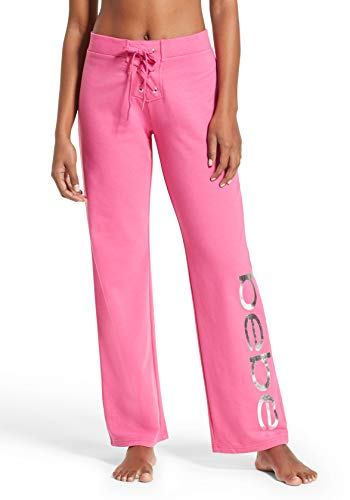 bebe Womens French Terry Yoga Jogger Sleep Sweatpants Rose Violet Large