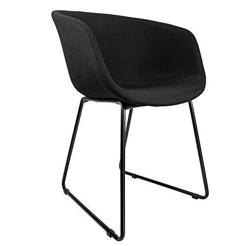 Cepewa Esszimmerstuhl 2er Set mit Armlehnen | stabilem Metallgestell gepolsterter Sitzfläche |Küchenstuhl | Polsterstuhl Schalenstuhl in schwarz oder grau (Schwarze Sitzschale)