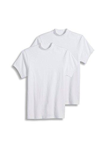 Jockey Men's Sportswear Short Sleeve Mock Neck Tee - 2 Pack, White, L