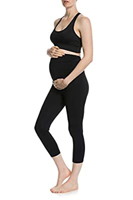 CLOYA Women's Maternity Active Capri Pant (S, Black)