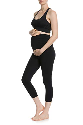 CLOYA Women's Maternity Active Capri Pant (XL, Black)