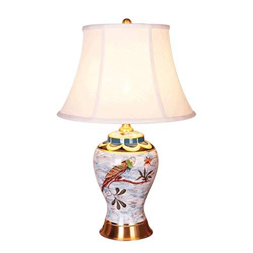 American Pastoral Klassische Blume Vogel Keramik Vase Tischlampe, Reis Weiß Stoffschirm, Antike Messing Tischlampe, Modernes Wohnzimmer Schlafzimmer Studie Bürobeleuchtung