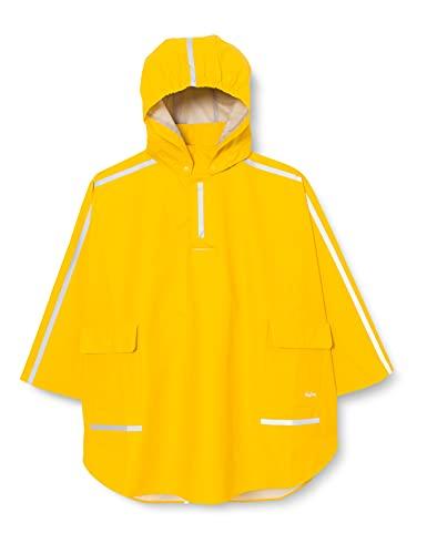 Playshoes Kinder Regencape, leichter Regenponcho, mit extra langem Rücken und abnehmbarer Kapuze, Gelb, 128