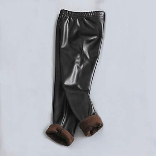 UKKD Leggins dames kinderen baby meisjes leggings herfst winter plus fluweel PU broek jongens en meisjes imitatie leer warme broek kinderen, zwart, 11.