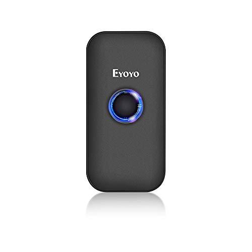 Eyoyo Mini 1D 2D QR Escáner de Código de Barras, Lector de Código de Barras 3-en-1 Conexiones USB Cable/ 2.4G Inalámbrico/Bluetooth para POS, Teléfono Inteligente, Tabletas, iOS, Android y Win