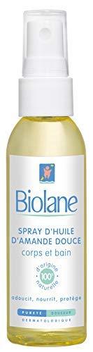 Biolane – Huile d'Amande Douce – Adoucit, nourrit et protège la peau du bébé – Pour le soin du bébé – spray de 75 ml
