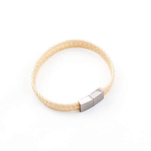 crintiff - Bracelet en CRIN de Cheval Fait Main - Collection Tennessee - de 16 a 17 cm - Tressé Plat - Bracelet Equestre - Blanc Ecru