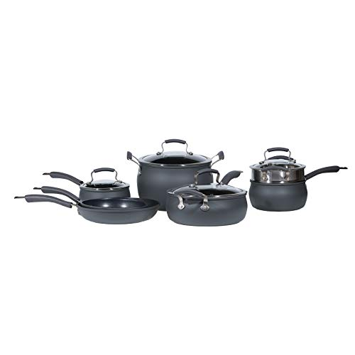 Epicurious Cookware Collection- Dishwasher Safe Oven Safe, Nonstick Hard Anodized 11 Piece Cookware...