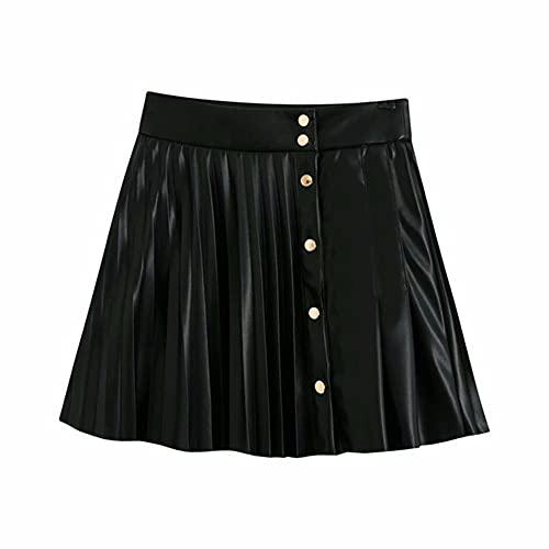 UKKD Falda Tenis Mujer Falda De Cuero Botones De Cintura Alta Sexy Mini Falda Plisada Asimétrica Moda Mujeres Otoño