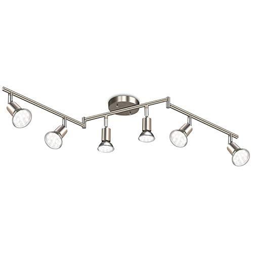 Ascher 6-Light LED Track Lighting Kit, Flexibly Rotatable Light Heads, 6 Way Ceiling Spotlight Matt Nickel Finish, Including 6 GU10 LED Bulbs (4W 400LM Daylight White 5000K)