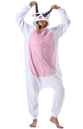 Pijama Animal Entero Unisex para Adultos con Capucha Mujer Hombre Cosplay Pyjamas Ropa de Dormir Traje de Disfraz para Festival de Carnaval Halloween Navidad Cabra para Altura 148-187cm