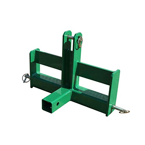 Titan Distributors Inc. Green Tractor Drawbar with Suitcase Weight Brackets and a 2' Receiver Fits Category 0 3-Point