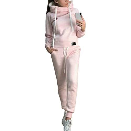 Chándal de 2 piezas para mujer, con manga larga, forro cálido, sudadera con capucha y pantalón deportivo de running, S-5XL rosa L
