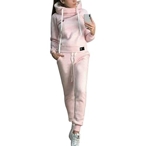 Tuta da Ginnastica Casuale Abbigliamento Sportivo 2 Pezzi con Fodera in Pile per Inverno Autunno, Donna Manica Lunga Pullover con Coulisse Felpe + Pantaloni