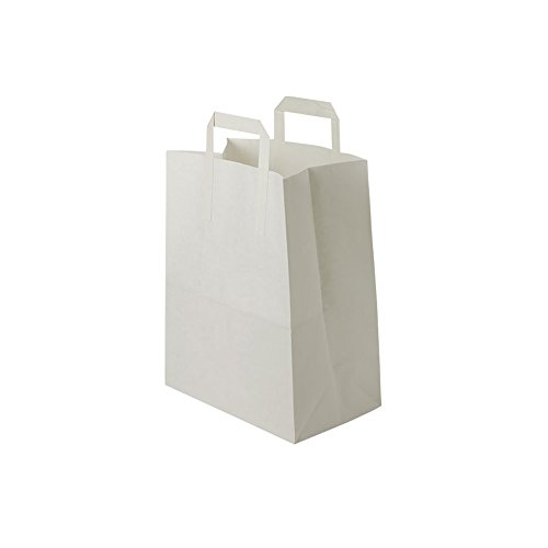 BIOZOYG weiße Papiertüten mit Griff I umweltschonende Papiertüte aus Kraftpapier I Geschenktüte biologisch abbaubar, Tüten kompostierbar I 250 x weiße Papiertragetaschen mit Henkel 18x8x22 cm
