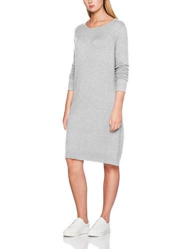 VILA CLOTHES Damen Kleid VIRIL L/S Knit Dress-NOOS, Grau (Light Grey Melange), L