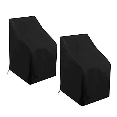 AOUSTHOP Gartenstühle Abdeckung 2 Stück Wasserdicht Winddicht, UV-Beständiges, Schwerlast 210D Oxford Abdeckplane für Gartenstühle Stapelstühle Balkonstühle,Schwarz(75x75x90/120cm)