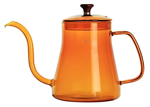 Czajnik kawy Czajnik wlej na kapelusz do kawy garnek gęsezeneck wylewek do kawy ekspres do kawy czajnik (Color : Orange, Size : 600ml)