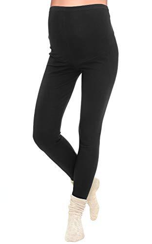 Mija - Lange Umstandsleggings/Leggings warme für den Winter/Baumwolle 3006 (XL, Schwarz)