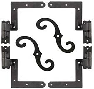 """Delaney Exterior Shutter Blind Hinges with 2 Material Options and 3 siding Options, Available with or with Out S"""" Hooks (Brick (489100) with S"""" Hooks 6 Pack, Powder Coated Black)"""
