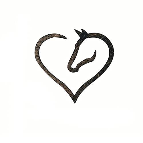 YWSZJ Regalo del día de la madre Caballo de madera del corazón de la muestra de la muestra del corazón del regalo para el amante del caballo para el hogar de la casa de la sala de escritorio Accesorio