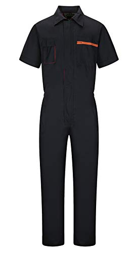 Yukirtiq Men's Zip Front Fastening Boilersuit Protective Workwear Overalls Short Sleeves Boiler Suit with Elasticated Waistband Hardwearing Functional Coverall Contrasting Color , Grey/Royal Blue
