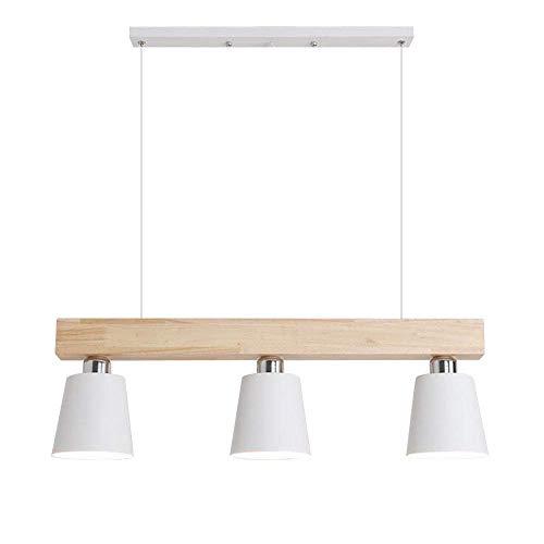 CHUANGJIE E27 hanglamp eettafel hout hanglamp wit in hoogte verstelbaar warm wit voor eetkamer werkkamer woonkamer kantoor café restaurant