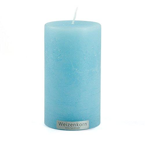 Weizenkorn Stumpen Kerze Ice Hell EIS Blau Struktur Ø 6,6/12 cm Handgefertigt Durchgefärbt