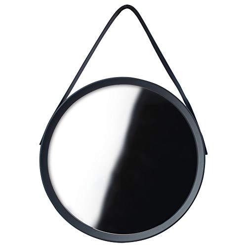 ORION GROUP Wandspiegel Spiegel Rund 52 cm mit Gürtel/Gurt-Aufhängung Schwarz Runder | Wand-Spiegel mit rahmen