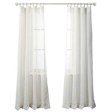 MYSKY HOME Linen Look White Sheer Curtains for Bedroom 84 Inch Long Living Room Rod Pocket Drapes (Silver Lines, 52  W x 84  L, 2 Panels)