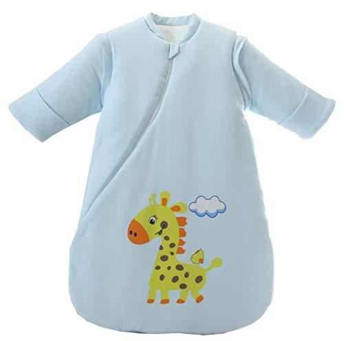 Jaimelavie Baby 3.5 Tog Winter Schlafsack ganz soft Kleine Kinder Schlafanzug mit abnehmbar Langarm aus Baumwolle (M/Baby Höhe 73-85cm, Blau Giraffe/2.5 Tog)