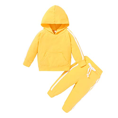 Toddler Kids Baby Girl Fall Clothes Set Long Sleeve Solid Hoodie Sweatshirt Pants 2Pcs Casual Outfits (12-18 Months, Yellow)