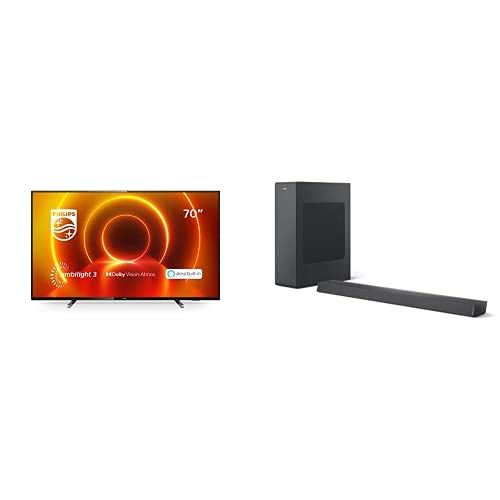 Philips 70PUS7805/12 70-Zoll 4K UHD TV mit Ambilight (P5 Engine, Dolby Vision∙Atmos, Alexa Sprachsteuerung, Saphi Smart TV) mit Soundbar B6305/10 inkl. Subwoofer (Bluetooth, 140 W, Dolby Audio) Grau