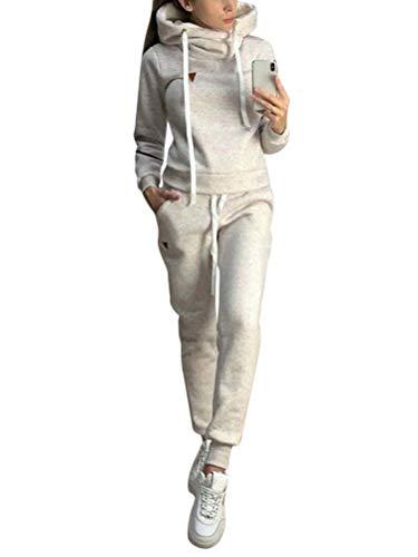 ORANDESIGNE Damen Trainingsanzug Mode Langarm Kapuzenpullover Sweatshirt mit Lange Hose Casual Jogginganzug Sportanzug mit Warm Gefüttert Winter Herbst 2 Stück Set Hoodie A Grau 38
