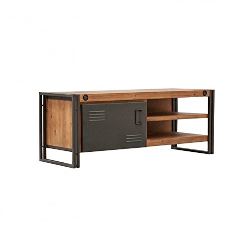 TV/dressoir vintage 1 deur & 2 holtes/massief acaciahout en metaal/hoogwaardig - Workshop Collection