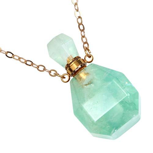 HEALLILY Collares de Cristal Botella de Perfume Colgante Cristal Facetado Piedra Preciosa Aroma Aceite Esencial Difusor Collar Verde Claro