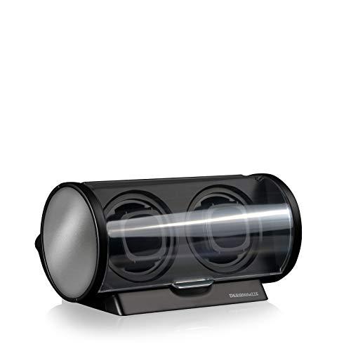 DESIGNHÜTTE® Uhrenbeweger Tubix Schwarz/Silber für 2 Automatikuhren