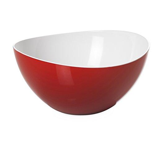 Omada Design Salatschüssel für Pasta und Salat, Schale aus zweifarbigem beständigem Kunststoff, Made in Italy, Trendy Linie, 20cm Durchmesser, 1,5lt Kapazität, geeignet für den Geschirrspüler, Rote