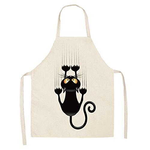 Delantal de cocina Lindo estampado de gato de dibujos animados Sin mangas Algodón Lino Cintura Delantal para hornear Hombres y mujeres Señoras Herramientas de limpieza del hogar 68 * 55cm-A7_47x38cm