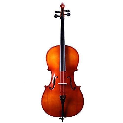Miiliedy 1/8 1/4 1/2 3/4 4/4 Tamaño Violonchelo Adultos hechos a mano Principiante Niños Practiquen tocando el violonchelo dulce con estuche Arco Resina Cuerdas adicionales Soporte para cello