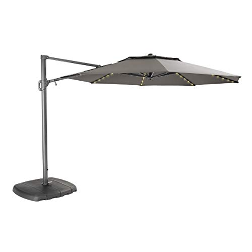 Kettler 3.3m Free Arm Parasol Grey Frame/Taupe Canopy with LED Lights & Bluetooth Speaker
