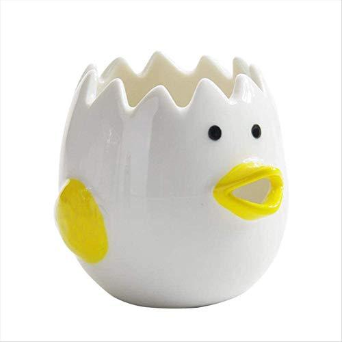 Yunobi Eiertrenner aus Keramik, Hühnerform, Eigelb, Weiß